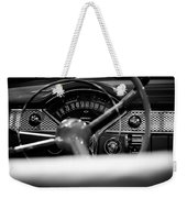 1955 Chevy Bel Air Dashboard In Black And White Weekender Tote Bag by Sebastian Musial