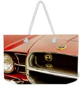 1957 Dual Ghia Convertible Coupe Grille And Hood Emblem Weekender Tote Bag