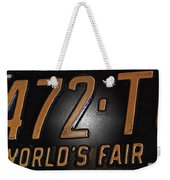1965 New York World's Fair License Plate Weekender Tote Bag