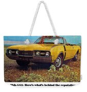 1968 Oldsmobile 4-4-2 - Here's What's Behind The Reputation. Weekender Tote Bag