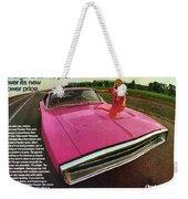1970 Dodge Charger Tickled Pink Weekender Tote Bag