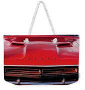1971 Dodge Challenger - Red Mopar Typography Weekender Tote Bag
