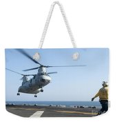 A Ch-46e Sea Knight Helicopter Prepares Weekender Tote Bag