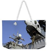A Soldier Fast-ropes From The Rear Weekender Tote Bag
