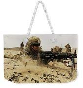 A Soldier Firing His Mk-48 Machine Gun Weekender Tote Bag