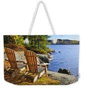 Adirondack Chairs At Lake Shore Weekender Tote Bag by Elena Elisseeva