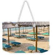 Beach Umbrellas On Sandy Seashore Weekender Tote Bag by Elena Elisseeva