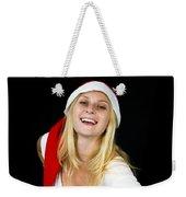 Blonde Woman With Santa Hat Weekender Tote Bag
