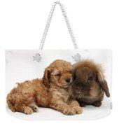 Cockerpoo Puppy And Rabbit Weekender Tote Bag