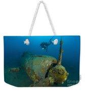 Diver Explores The Wreck Weekender Tote Bag