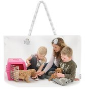 Family With Cockerpoo Pups Weekender Tote Bag
