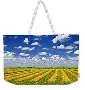 Farm Field At Harvest In Saskatchewan Weekender Tote Bag by Elena Elisseeva