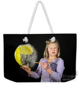 Girl Popping A Balloon Weekender Tote Bag