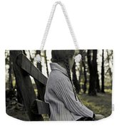 Girl Sitting On A Wooden Bench In The Forest Against The Light Weekender Tote Bag