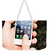 Hands Holding An Iphone Weekender Tote Bag by Photo Researchers, Inc.