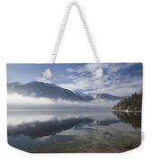 mist burning off Lake Bohinj Weekender Tote Bag