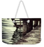 Old Wooden Pier With Stairs Into The Lake Weekender Tote Bag