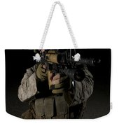 Portrait Of A U.s. Marine Wearing Night Weekender Tote Bag