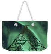 Powerlines And Aurora Borealis Weekender Tote Bag by Arild Heitmann