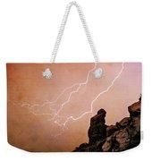 Praying Monk Camelback Mountain Lightning Monsoon Storm Image Tx Weekender Tote Bag by James BO  Insogna