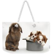 Rabbit And Spaniel Pups Weekender Tote Bag