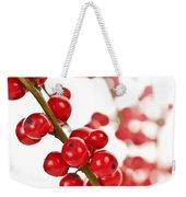 Red Christmas Berries Weekender Tote Bag by Elena Elisseeva
