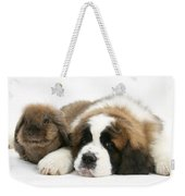 Saint Bernard Puppy With Rabbit Weekender Tote Bag