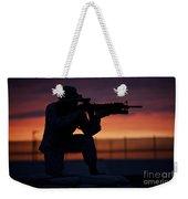 Silhouette Of A U.s Marine On A Bunker Weekender Tote Bag