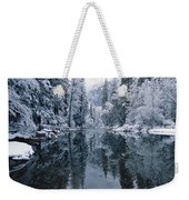 Snow-covered Trees Reflected Weekender Tote Bag