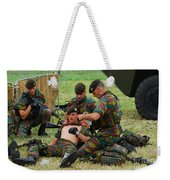 Soldiers Of A Belgian Infantry Unit Weekender Tote Bag