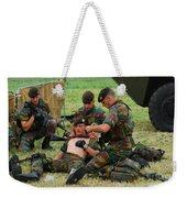 Soldiers Of A Belgian Infantry Unit Weekender Tote Bag by Luc De Jaeger