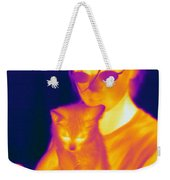 Thermogram Of A Girl And Cat Weekender Tote Bag