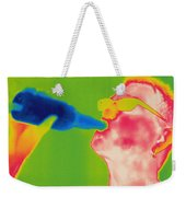 Thermogram Of A Man Drinking Weekender Tote Bag
