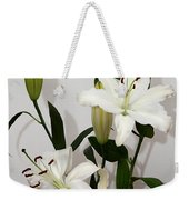 White Lily Spray Weekender Tote Bag