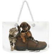 Kitten And Puppy Weekender Tote Bag by Jane Burton