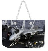 An F-14d Tomcat On The Flight Deck Weekender Tote Bag