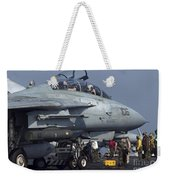 An F-14d Tomcat On The Flight Deck Weekender Tote Bag