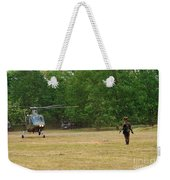 An Agusta A109 Helicopter Weekender Tote Bag by Luc De Jaeger