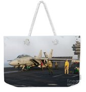 An F-14d Tomcat In Launch Position Weekender Tote Bag