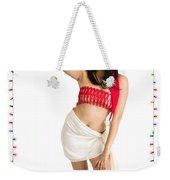 Asian Woman With Santa Hat  Weekender Tote Bag