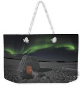 Aurora Borealis Over An Igloo On Walsh Weekender Tote Bag by Jiri Hermann