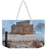 Barn In Winter Weekender Tote Bag