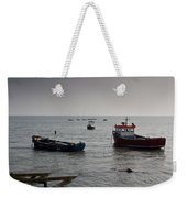 Boats Moored Off Of Leigh Essex Weekender Tote Bag