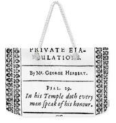 George Herbert (1593-1633) Weekender Tote Bag