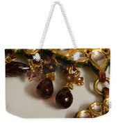 3 Hanging Semi-precious Stones Attached To A Green And Gold Necklace Weekender Tote Bag