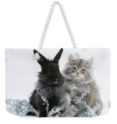 Kitten And Rabbit Getting Into Tinsel Weekender Tote Bag
