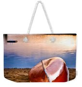 Lake Sunset With Canoe On Beach Weekender Tote Bag