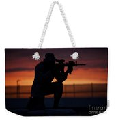 Silhouette Of A U.s Marine On A Bunker Weekender Tote Bag