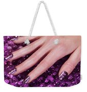 Woman Hand With Purple Nail Polish Weekender Tote Bag