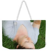 Woman Using Her Iphone Weekender Tote Bag by Photo Researchers, Inc.